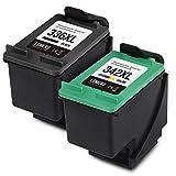LEMERO 336XL 342XL - Cartuchos de tinta remanufacturados para Hp DeskJet 5440 5442 OfficeJet 6310 PhotoSmart 2570 7830 7850 2573 2575a 7800 C3100 C3180 C3190 PSC 15 10 15 10s, color negro.