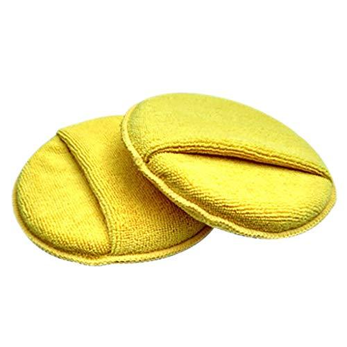 Sulifor Runde Tasche mit Mikrofaser-Reinigungsschwamm, Autowachs Polier-Reinigungspad aus Mikrofaser-Schaumstoff-Schwamm