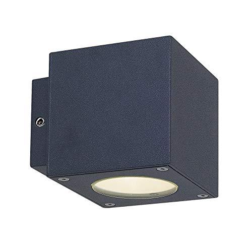 Lucande LED Wandleuchte außen 'Jarno' (spritzwassergeschützt) (Modern) in Schwarz aus Aluminium (2 flammig, A+, inkl. Leuchtmittel) - LED-Außenwandleuchten Wandlampe, Led Außenlampe, Outdoor Wandlampe
