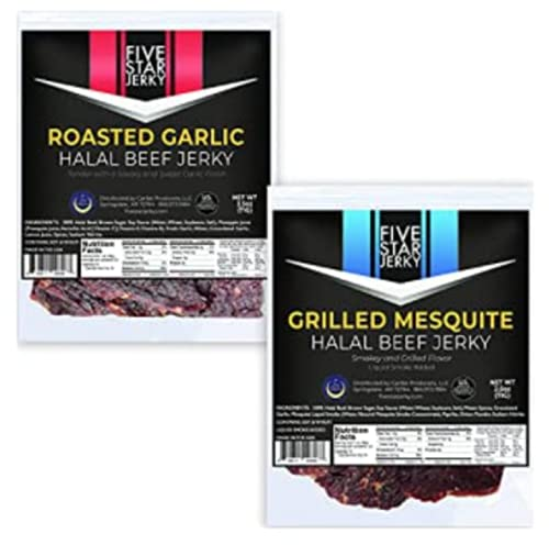 Five Star Halal Jerky Variety Roasted Garlic and Grilled Mesquite | High Protein Jerky Snack | Made in the USA - 2.5 oz (2 Pack)