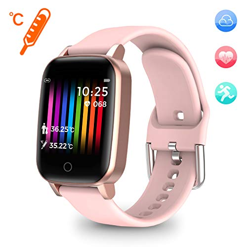 moreFit Heed Fitness Watches for Women, Heart Rate Fitness Activity Tracker Smart Watch with Body Temperature Measurement Step Calorie Coutner Sleep Tracker, Best Fitness Gift for Mother Lover Friends