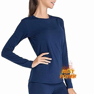 MANCYFIT Thermal Underwear for Women Long Johns Set Fleece Lined Ultra Soft Blue Medium