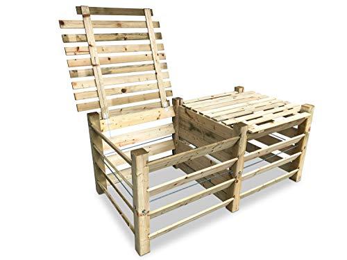 GartenDepot24 ECO Doppel-Komposter Brettkomposter aus Holz mit Deckel 188x100x80 cm - ca. 1300 L