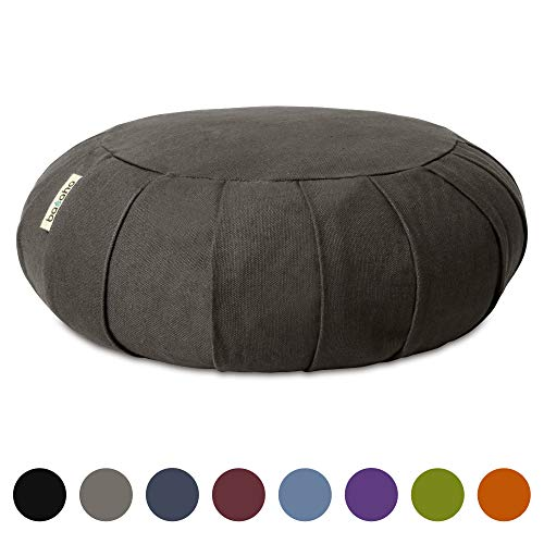 Basaho CLASSIC Zafu Meditation Cushion | Organic Cotton (GOTS Certified) | Buckwheat Hulls | Removable Washable Cover (Stone)