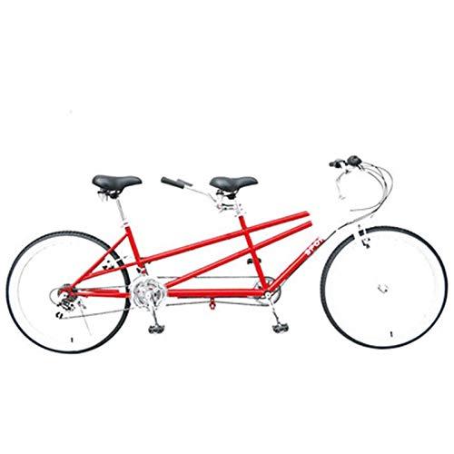 TWW Bicicleta 26 Pulgadas Bicicleta para Padres E Hijos Ocio Bicicleta para Varias Personas Bicicleta De Velocidad Variable Pareja Bicicleta De Viaje En Tándem,Rojo