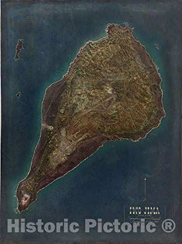 Historic Map : Iwo Jima, 1945, Terrain Model Workshop, US Navy, v2, Vintage Wall Art : 18in x 24in