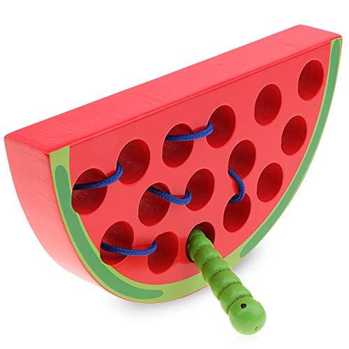 O-Kinee Holz Wassermelone Threading Spiel Baby Lernspielzeug Fädelspielzeug, früh Lernen Feinmotorik Pädagogisches Geschenk Aktivitäts Spielzeug für Baby und Kleinkind