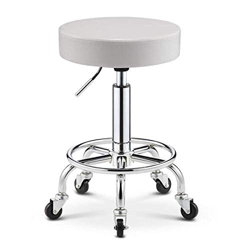 Taburete de barbero , Taburete móvil en rueda,silla de taburete ajustable con púrpura PU Asiento de cuero sintético,altura ajustable 43-55 cm,peso compatible 160 kg,taburete de peluquería for la tiend