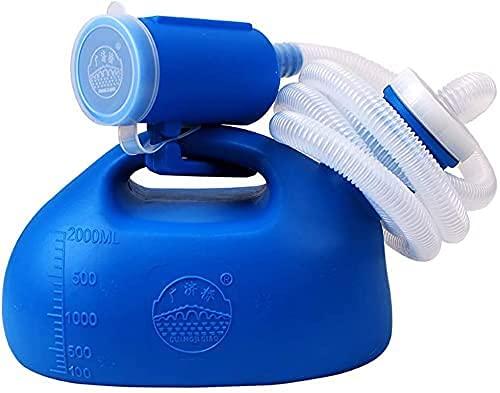 Urinarios unisex, urinario de 2000 ml para hombres y mujeres, portátil, a prueba de derrames, reutilizable, de plástico, grande, botella de orina con tapa de rosca para manguera
