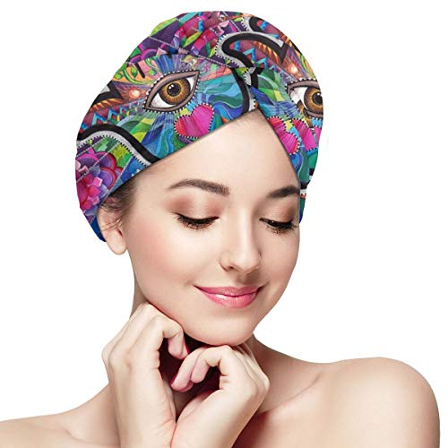 Hamsa Hand of Fatima Good Luck Microfiber Hair Towel Wraps with Button for Women Quick Dry Anti-frizz Head Turban for Long Thick Curly Hair Super Absorbent Soft Bath Cap 28 inch X 11 inch