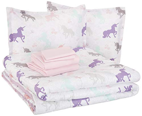 AmazonBasics Easy Care Super Soft Microfiber Kid's Bed-in-a-Bag Bedding Set - Full / Queen, Purple Unicorns