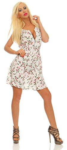 Fashion4Young 11532 Damen Mini Kleid Sommerkleid Ärmellos Blumen Minikleid Reißverschluß (weiß, S-M/34-36)