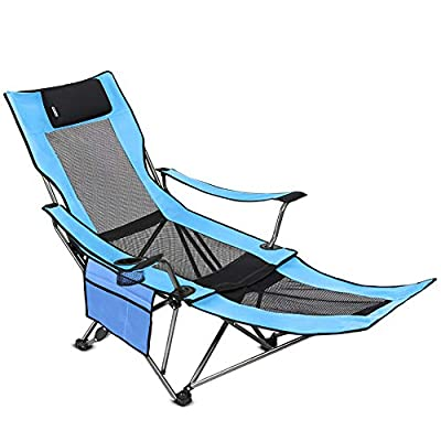SUNTIME Outdoor Adjustable Folding Camping Chair with Removable Footrest(Blue)