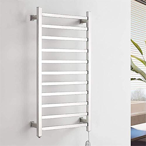 Toallero Eléctrico Calentador de toallas, enchufe montado en la pared Toalla recta Calentador eléctrico Calentadoras de secado de acero inoxidable 11 barras pulidas 130 vatios 22.8 pulgadas x 48 pulga