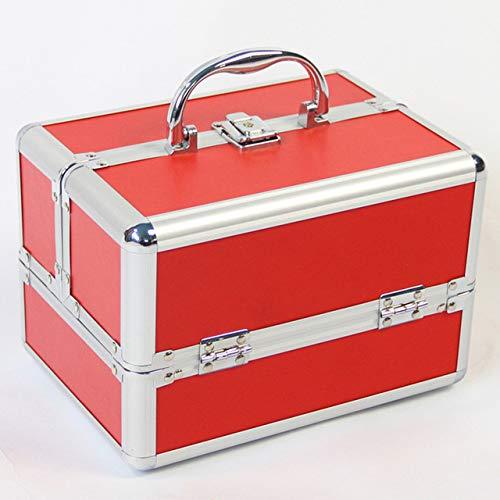 QXTT Kosmetikkoffer Schminkkoffer Beauty Make-up Case Multikoffer Friseurkoffer Werkzeugkoffer Abschließbar 24X 18X 17cm,Red