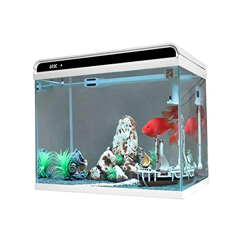 LKNJLL 6,8-Liter-Aquarium Kit - Power Filter - LED-Beleuchtung, Ultra-weißes Glas Wasser frei Ökologische Faule Desktop Home Landschaftsbau Aquarium