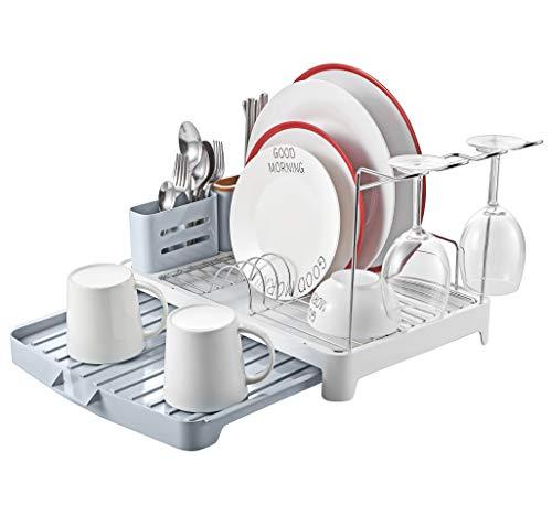 kingrack abtropfgestell edelstahll,geschirrabtropfgestell faltbar,geschirrablage mit ausziehbarer Geschirr abtropfgitter,geschirrkorb mit Besteckhalterkorb,Wineglashalter,geschirrabtropfer für küche