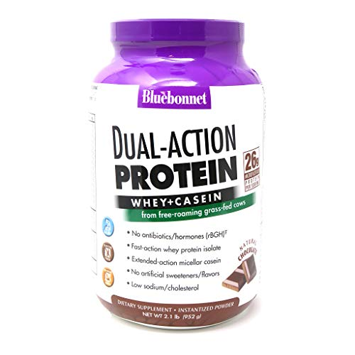 Bluebonnet Nutrition Dual-Action Protein Powder, Whey from Grass Fed Cows, 26 Grams of Protein, No Sugar Added, Non GMO, Gluten Free, Soy Free, Kosher Dairy, 2.1 lbs, 28 Servings, Chocolate Flavor