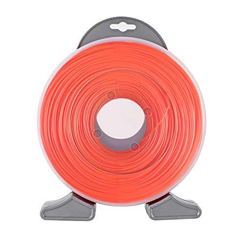 Forever Speed Schnur Rasentrimmer Trimmerfäden Rasenmähfaden Ersatzfaden Rasentrimmer Nylonfaden Bürstenschneiderlinie Rund Durchmesser 2,4 mm x 100 Meter Orange