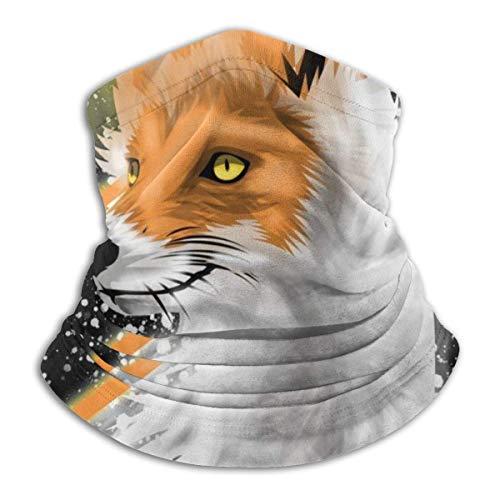 Bklzzjc Neck Gaiter Fox Vector Animal Black Neck Gaiter Bandanas spéciaux Camping Respirables Sports Randonnée Travail Coloré Cosy Fishin