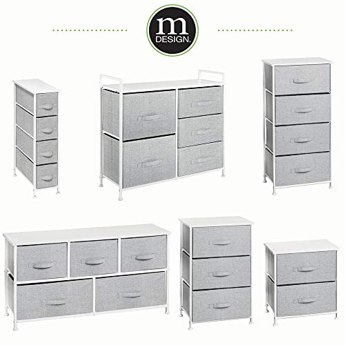 mDesign Vertical Dresser Storage Tower - Sturdy Steel Frame, Wood Top, Easy Pull Fabric Bins - Organizer Unit for Bedroom, Hallway, Entryway, Closets - Textured Print - 3 Drawers - Gray/White