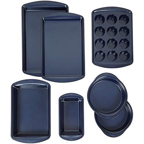 Wilton Non-Stick Diamond-Infused Navy Blue Baking Set, 7-Piece