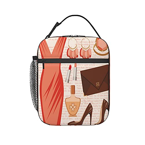 Insulated Lunch Bag Reusable Tote Bag lunch box for men, Accessories Fashion Cocktail Dress Lipstick Earrings High Heels Theme women cooler bag