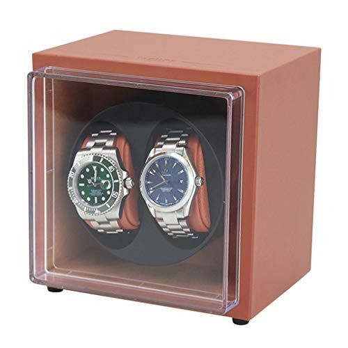 CHYOOO Reloj Caja Bobinadora Giratorias Franela Motor Calidad Silencioso Cajas Giratorias 2 Relojes Caja Almacenamiento Reloj (Color : Brown)