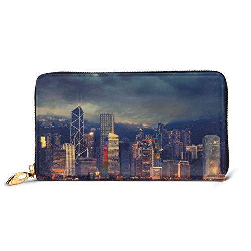 Women's Long Leather Card Holder Purse Zipper Buckle Elegant Clutch Wallet, Hong Kong Cityscape Stormy Weather Dark Cloudy Sky Waterfront Port Dramatic View,Sleek and Slim Travel Purse