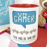 La Mente es Maravillosa - Taza con frase y dibujo divertido (Un gamer tiene más de una vida) Regalo GAMER