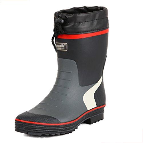 Industrie & Handwerk Regenstiefel Männer Wasser Schuhe Angeln Schuhe Mittelrohr wasserdicht Anti-Rutsch-Frühling und Sommer PVC-Schuh Rohr Höhe 10inch (Color : Red, Size : 40)