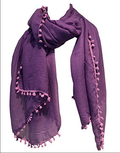 Pamper Yourself Now Licht lila schlicht Schal/Wrap mit Bommeln- Light purple plain scarf/wrap with bobbles