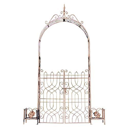 Arco de Jardín Decorativo de Metal para Exteriores, Diseño de Puerta Doble, Dos Jardineras en El Lateral, Enredaderas de Rosas para Varias Plantas Trepadoras, Jardín al Aire Libre, Terraza