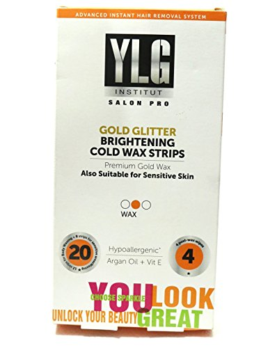 YLG Brightening Cold Wax Strips, Gold Glitter, 28 Pieces (with 2 Pieces Free)