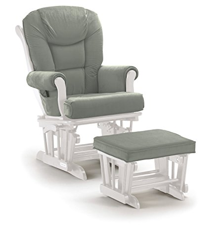 Lennox Multiposition-Lock Glider Chair and Ottoman Combo, White with Grey