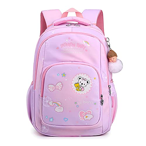jwj Bolsas escolares impermeables para niños, bolsas escolares para niñas y niños, impresión de dibujos animados, mochila de escuela primaria, mochila de hombro (color: rosa púrpura)
