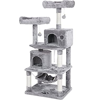 BEWISHOME Cat Tree Condo Tower Kitten Furniture Activity Center Pet Kitty Play House with Sisal Scratching Posts Perches Hammock Light Grey MMJ01G