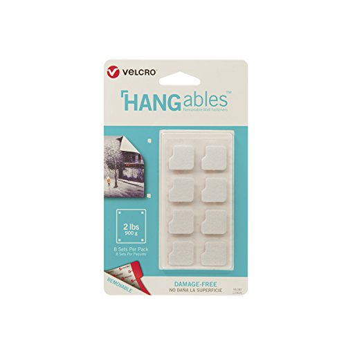 VELCRO Brand HANGables | Removable Wall Fasteners | Decorate Without Damaging Your Walls | Hang frames, Create Wall Collages | 8 Sets per Pack | Squares
