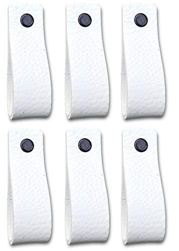 Tiradores de Cuero | Blanco / 6 piezas | 16,5 x 2,5 cm | Piel de Granos | 3 tornillos de color - tiradores para Accesorio de Mobilario, armario, cajón, puerta