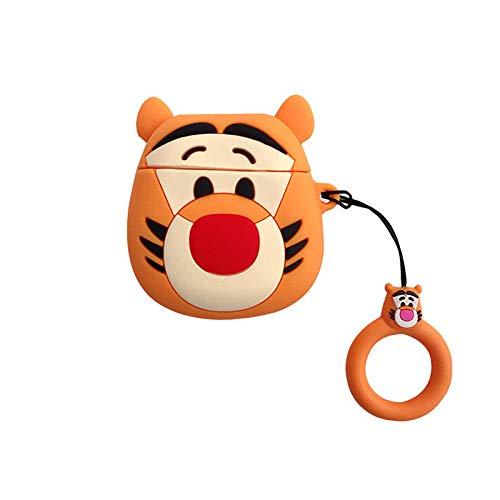Funda de silicona para AirPods 1 y 2 Pro Funny Cute Cartoon Headset Case Funda protectora para auriculares con carcasa retro reproductor de cinta negra + gancho para AirPods Pro