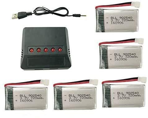 ZYGY 5pcs 3.7V 720mah Lipo Batería y 5en1 Cargador para Syma X5C X5C-1 X5A X5 X5SC X5SW H5C V931 S5C FQ36 UFO 3000 UDI U45 U45W T5W JJRC H42 SS40 GoolRC T32 RC Quadcopter