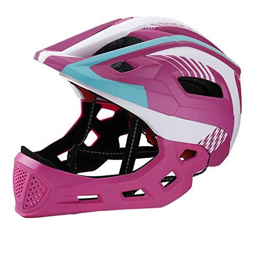 QYTK Fullface-Helm Kinder Fahrradhelm mit Abnehmbarem Kinnschutz, 5-15 Jungen Mädchen Kinderhelm für Skateboard Rollerblading Inlineskaten Fahrrad Licht Helm, Kopfgröße 48-56 (Rose Rot Weiß)