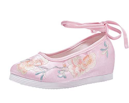 Liveinu Donna Mary Jane Ballerina con Laccio Cuneo Fiori Ricamate a Mano Ricamate Cinese Ricamo Scarpe Loafers Comode Slip On Scarpe Casual Flat Shoes Rosa 39 EU