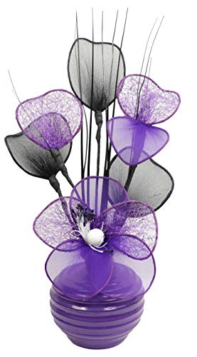 Flourish 813-Piccolo vaso con 723217-Cadbury artificiali in Nylon, colore: viola/bianco, in vaso, decorazione per la casa, 32 cm, colore: viola