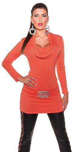 Koucla Robe en tricot et pull avec col en faux plis pour femme - Orange - 36