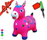 Bouncy Horse - ECO-Friendly - Animal Bouncing Hopper Toy, Inflatable Ride on Jumping Bouncer for Kids(Pink)