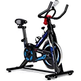 Goplus Indoor Cycling Bike, Adjustable Fitness Exercise Bike with LCD Display, Comfortable Seat Cushion, 5-Position Adjustable Saddle, Stationary Bike for Home and Gym Use (Black + Blue)