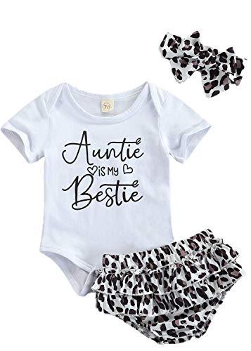 Daddy'S Girl Mommy's World Traje de Leopardo Bebé niña 0-18 Meses 3 Piezas Romper Cuello Redondo Mangas Cortas Pantalones Cortos de Encaje Diadema Botones Dulce Verano (Blanco2, 6-12 M)