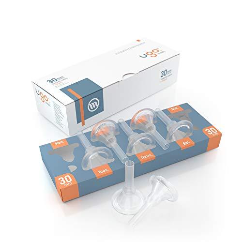 Ugo-Scheide (x28) - 1-Monats-Versorgung mit Kondomen für externe Urin-Katheter - selbstklebend und latexfrei (Durchmesser - 30mm, Länge - Standard)