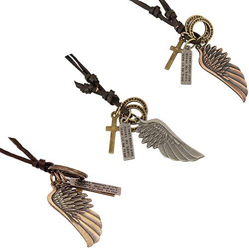 CAILI 3 pcs Collar para hombre, Collar de Cuero con Alas de ángel, Collar de Cuero Tejido Vintage Ajustable, También Adecuado para Mujeres(Rojo antiguo, plata antigua, bronce.)